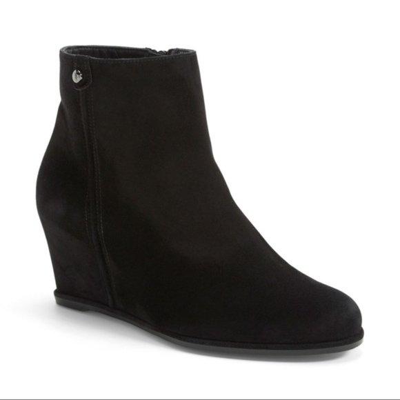 Stuart Weitzman Slidein Wedge Suede Bootie Shoes